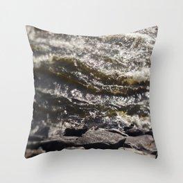Torrent river Throw Pillow