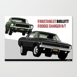 Ford Mustang and Dodge Charger from Bullitt Canvas Print