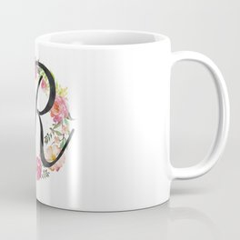 Floral R Monogram Coffee Mug