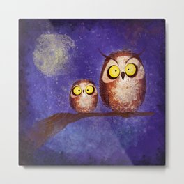 Thumbprint Owls!  Metal Print