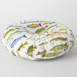 Illustrated New England and  Adirondacks Game Fish Identification Chart Floor Pillow