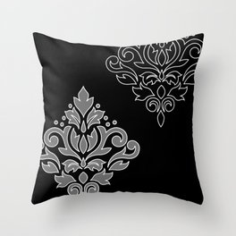 Scroll Damask Art I Wt Line Gray Blk Throw Pillow