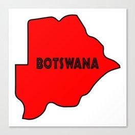 Botswana Silhouette Map Canvas Print