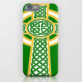 St Patrick's Day Celtic Cross White and Green iPhone Case