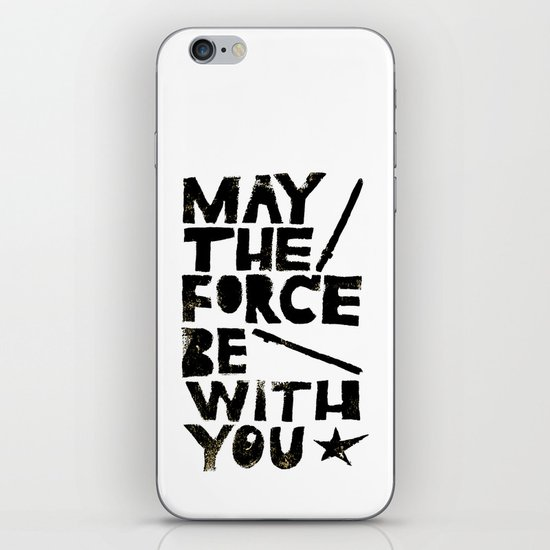May the Force be with You - Linocut Star Wars Movie Poster iPhone & iPod Skin