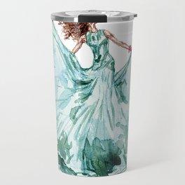 Fashion Blue Turquoise Teal Dress Girl Travel Mug