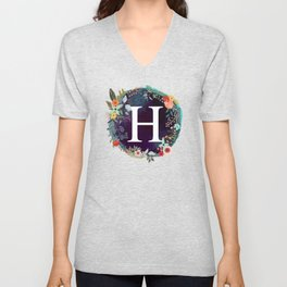 Personalized Monogram Initial Letter H Floral Wreath Artwork Unisex V-Neck