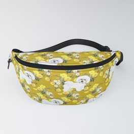 Bichon Frise on Yellow Rose Floral Autumn Gold Fanny Pack
