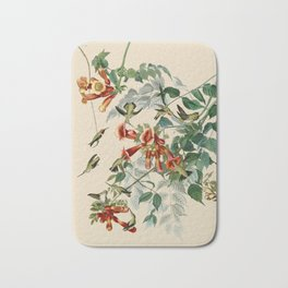Vintage Hummingbird Illustration - Birds of America Bath Mat