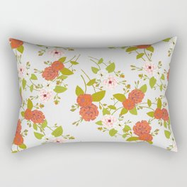Climbing Roses, Crimson, Green, Pink and Grey Rectangular Pillow