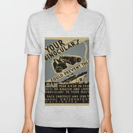 Vintage poster - Your Binoculars Could Prevent This Unisex V-Neck