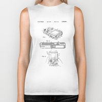 gameboy Biker Tanks featuring Gameboy Patent Drawing by Patent Drawing
