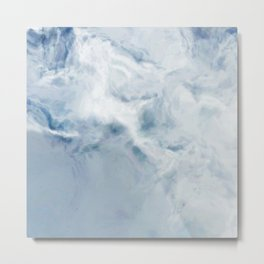 White Snow Painted Marble Metal Print