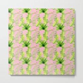 Pastel pink green hand painted tropical leaves pattern Metal Print