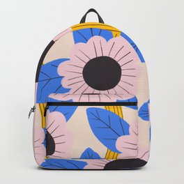 Pink and blue flowers Backpack