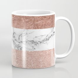 Modern chic color block rose gold marble stripes pattern Coffee Mug