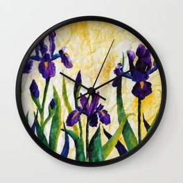 Watercolor Wild Iris on Wrinkled Paper Wall Clock