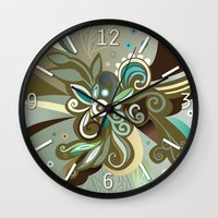 Floral curves of Joy, olive Wall Clock