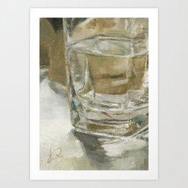 Glass of Water Half Full Reflections of Light Art Print