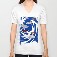 sharks V-neck T-shirts featuring Sharks. by Sylvie Heasman