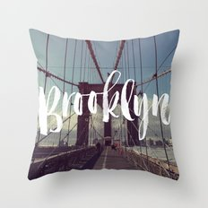 Brooklyn Bridge Photography and Calligraphy Throw Pillow