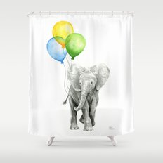 Elephant Watercolor Baby Animal with Balloons - Blue Yellow Green Shower Curtain