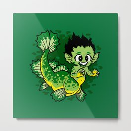 Pond Dragon Metal Print