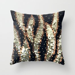 Gold Sequin Flames Throw Pillow