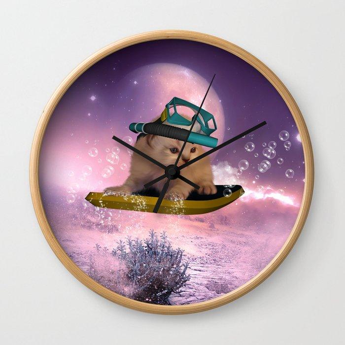 Cute surfing kitten Wall Clock