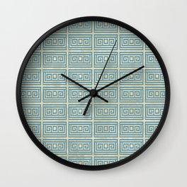 Vintage Blue Tile  Greek Meander Pattern Wall Clock