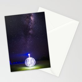 Milk way lighthouse Stationery Cards