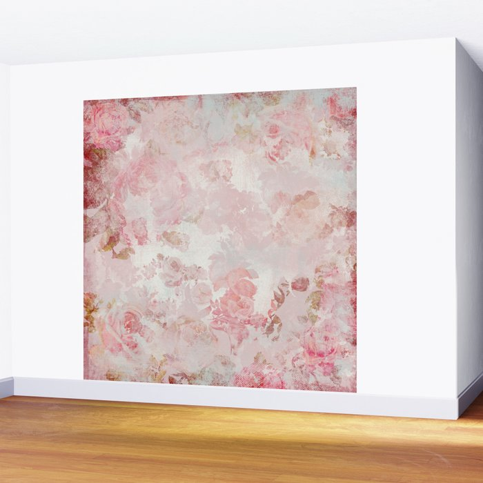 Vintage Floral Rose Roses painterly pattern in pink Wall Mural
