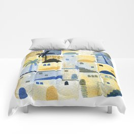 Morning Middle Eastern Town Watercolor Comforters