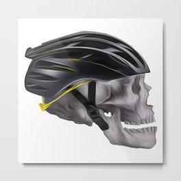 Cyclist Skull Metal Print