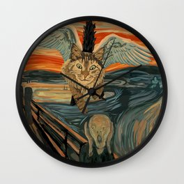 Funny Maine Coon Cat The Scream Mashup Wall Clock