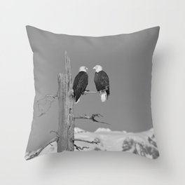 Perched With A View Duo - B & W Throw Pillow
