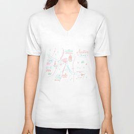 Austin, Texas Illustrated Calligraphy Map Unisex V-Neck