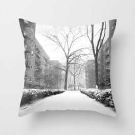 Snowy Day in Queens, New York City Throw Pillow