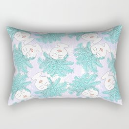 Fern-tastic Girls in Teal + Periwinkle Rectangular Pillow