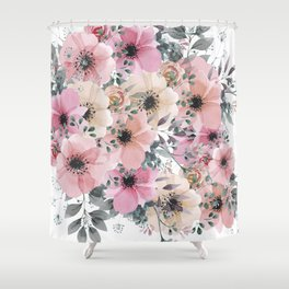 Pink and Peach Watercolor Flowers Shower Curtain