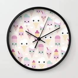 Cute kawaii summer Japanese ice cream cones and popsicle p Wall Clock