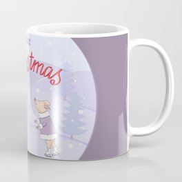 skating couple piggies merry christmas Coffee Mug