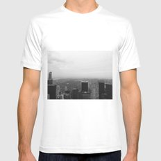 New York in Black and White White MEDIUM Mens Fitted Tee