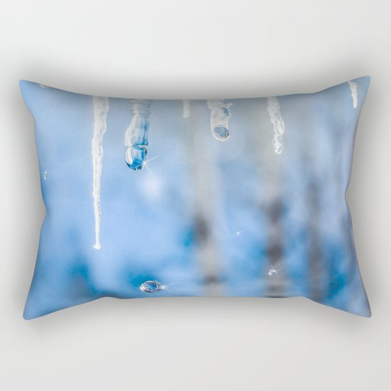 Icicles and drops in a birch grove Rectangular Pillow
