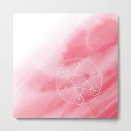Sacred Geometry Rose Blush Watercolor Metal Print