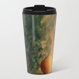 A glass of wine with an apple on a colourful painted background Travel Mug