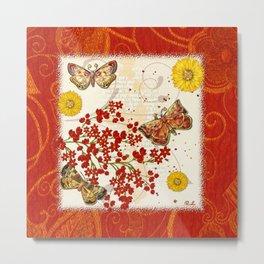 Autumn Moth Musings 3D Jeweled Metal Print
