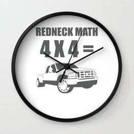 Redneck Math 4X4 Truck Funny T-shirt Wall Clock