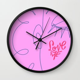 Love Me in Pink Wall Clock