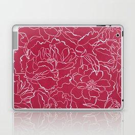 Modern fuchsia white hand drawn peonies floral Laptop & iPad Skin